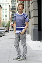 white American Apparel shirt - navy sheer stripe American Apparel shirt