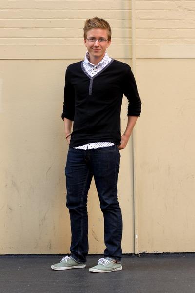 black henley Uniqlo shirt - white polka dot Vanquish shirt