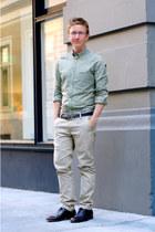 green ben sherman shirt - dark brown dress vintage shoes