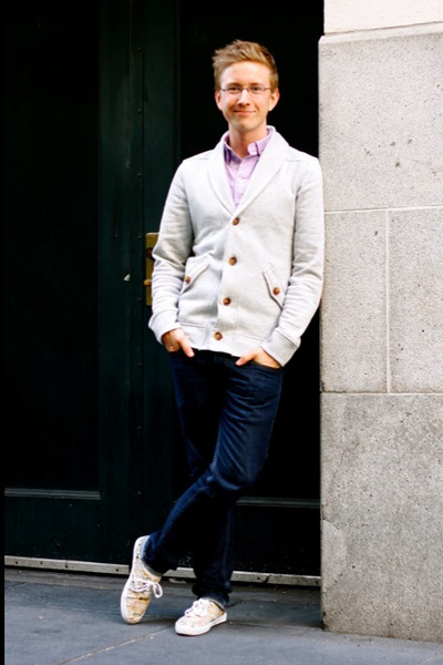 Men's Tawny Elbow Sleeves H&M Cardigans, Off White Shawl Collar ...