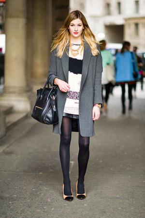 Zara coat - leather Bash dress - celi bag - Zara heels