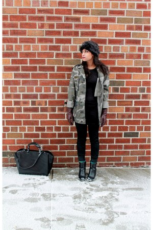 forest green camo Urban Outfitters jacket - black Zara bag