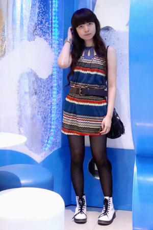 random boutique dress - Zara belt - Zara purse - doc martens boots