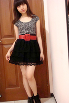 black tutu Zara skirt - gray leopard print Zara top - red Body & Soul belt