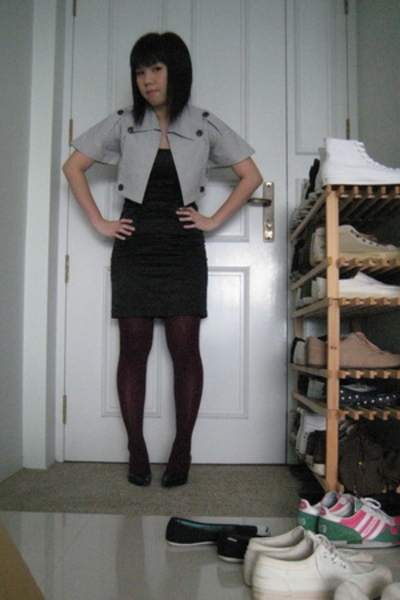 bkk coat - thrift dress - tights - shoes