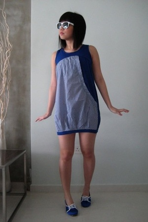 blue bkk dress - blue bkk shoes - white sunglasses