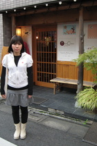 adidas original jacket - agnes b top - thrifted skirt - Uniqlo tights - shoes -