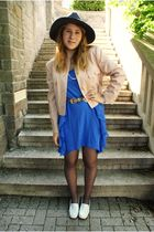 blue H&M garden collection dress - pink vintage blazer - gray unknown tights - w