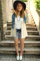 white Glacee shoes - blue Bebe shorts - white Forever 21 blouse - beige vintage