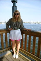 pink Amercan Apparel shorts - white head skirt - white Glacee shoes - black vint