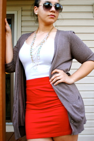 dark gray glasses - white shirt - brown cardigan - ruby red skirt