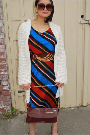 angled striped dress - white baggy sweater - bag - belt - Forever 21 glasses