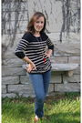 Black-urban-outfitters-sweater-red-kenneth-jay-lane-necklace-blue-gap-jeans-