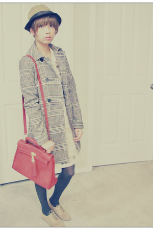 ruby red Aldo Accessories bag - nude Forever21 dress - camel H&M coat