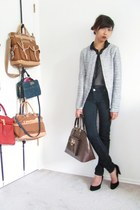 navy Bluenotes jeans - blue Zara blazer - dark brown DKNY bag