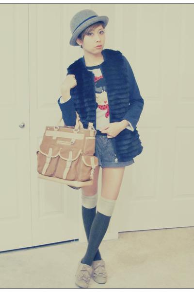 bronze DKNY bag - tan Aldo shoes - heather gray Zara sweater