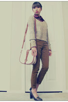 beige Forever21 sweater - ruby red Urban Behaviour shirt