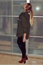 Army-green-zara-blouse-burnt-orange-zign-boots-black-no-name-leggings