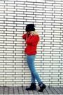 Black-akira-boots-sky-blue-just-femme-jeans-black-h-m-hat