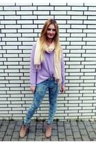 camel vintage boots - light blue asos jeans - nude vintage scarf