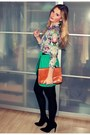 Teal-h-m-skirt-burnt-orange-h-m-bag-light-purple-h-m-blouse