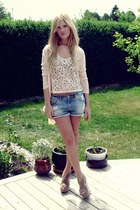H&M top - H&M shorts - Primark cardigan - Nelly wedges