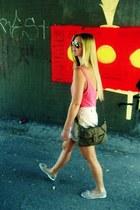 light pink H&M shorts - light brown Zara bag - bubble gum H&M top