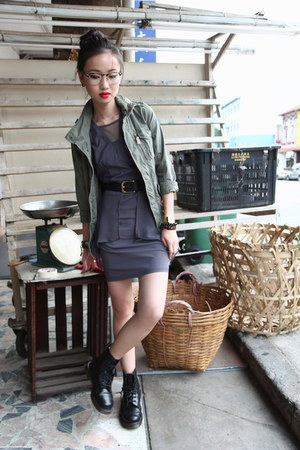 charcoal gray pelplum Dressabelle dress - black pascal Dr Martens boots