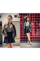 army green army jacket second hand jacket - black Jeffrey Campbell heels