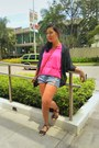 Hot-pink-blouse-blue-cardigan