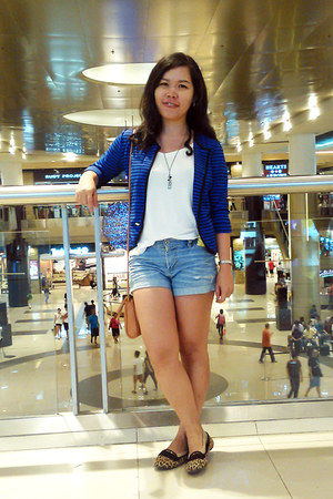 blue blazer - white shirt - sky blue denim shorts shorts
