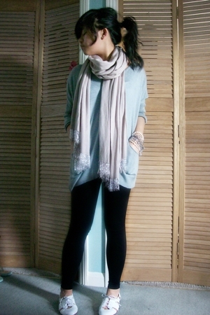 Topshop top -  leggings - Topshop shoes -  scarf