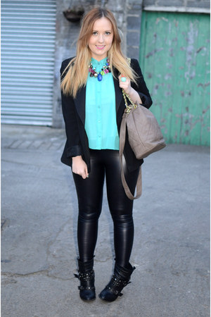 aqua Miss Selfridge blouse - studded aso boots - leather look Topshop leggings