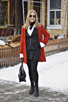ruby red coat - black leggings - black bag - white skirt - black suit - black sk
