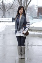 charcoal gray boots - navy tights - white top - navy vest