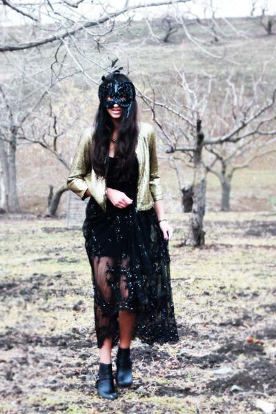 black lace beading Shahkuhachi dress - gold sequined Silence  Noise jacket