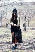 black lace beading Shahkuhachi dress - gold sequined Silence  Noise jacket