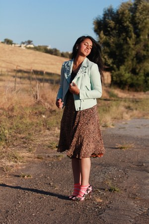 light blue Zara jacket - brown thrifted vintage skirt - black asos pumps