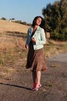 light blue Zara jacket - brown thrifted vintage skirt - black asos pumps