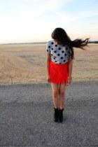red Forever 21 skirt - black Kelsi Dagger boots