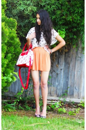 red asos bag - off white H&M shirt - light orange asos skirt - black asos pumps