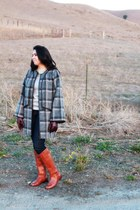 tawny leather Halogen boots - silver H&M sweater - plaid grey Leith cape