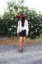 off white asos blouse - gray Forever 21 shorts