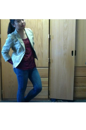 lace velvet banana republic blouse - jeggings PacSun jeans - khaki J Crew blazer
