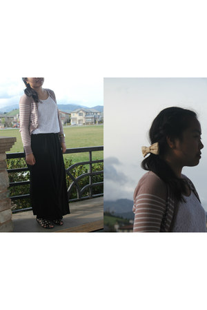 lace velvet abercrombie and fitch blouse - Mango cardigan - maxi papaya skirt
