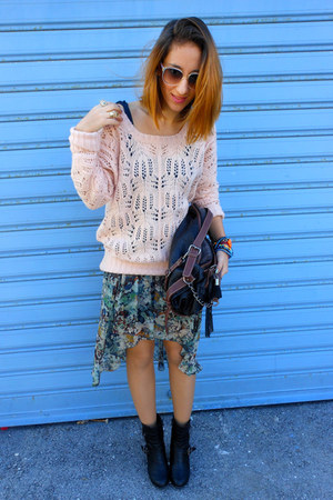 teal Zara skirt - light pink Tally Weijl sweater