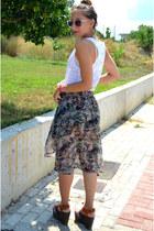 Zara skirt - my design necklace - Zara wedges - pull&bear top