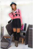 salmon asos jumper - dark khaki asos boots - hot pink Accessorize bag