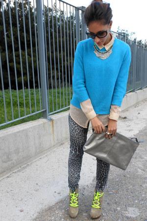 turquoise blue Zara sweater - yellow Guess boots - ivory Zara shirt