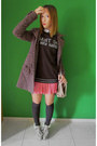 Guess-boots-zara-coat-dark-brown-gant-sweater-asos-bag-bubble-gum-skirt